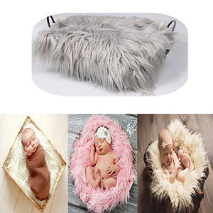 Vedory Baby Photo Props Boy Girls Newborn Baby Photography Shoot Wrap Soft Fur Quilt Photographic Mat (Light Grey),0-3 Months