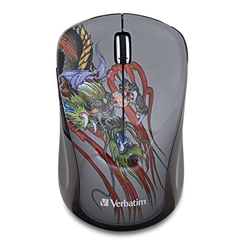 Verbatim Wireless Notebook Multi-Trac Blue LED Mouse, Tattoo Series , Dragon 98612