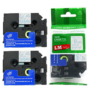 2/Pack - Premium Compatible with Brother TZe-113 Blue on Clear 1/4 p-Touch Label Tape, 6mm Laminated replacment TZe113 Tape, TZ113 0.23