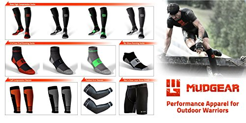 MudGear Padded Arm Sleeves - Sports Compression Elbow Protection for Outdoor Sports Performance - 1 Pair (Large, Black/Gray)