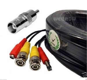Wennow 100 Ft Pre-made All-in-One Video Power BNC RCA Cable for CCTV Security Cameras
