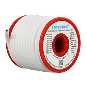 BNTECHGO 12 Gauge Silicone Wire Spool 25 ft White Flexible 12 AWG Stranded Tinned Copper Wire