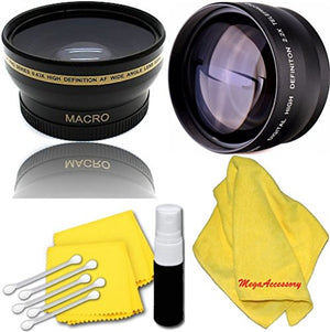 46mm 2X Telephoto Lens + 46mm 0.45x Wide Angle Lens with Marco for panasonic HC-V700k HC-V720K HDC-SD800K HDC-SDT750 Camcorder + Microfiber Cleaning Cloth + LCD Screen Protectors
