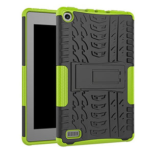 Kindle Fire 7 Case, Artyond Hybrid 2 in 1 Cool Tire Stripe Soft Silicone Hard Perfect Case Protective Armor Defender Cover with Kickstand Case for Amazon Kindle Fire 7 2015 Release(Green+Black)