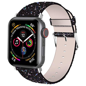 iiteeology Compatible with Apple Watch Band 38mm 40mm 42mm 44mm, Shiny Bling Glitter Leather Band for iWatch SE Series 6/5/4/3/2/1 Women Girls, Black 38mm/40mm