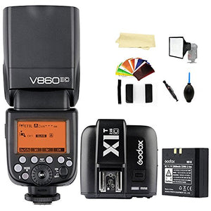 Godox V860II-C E-TTL 2.4G High Speed Sync 1/8000s GN60 Li-ion Battery Camera Flash speedlite light + Godox X1T-C Wireless Remote Flash Trigger Transmitter compatible for Canon EOS cameras