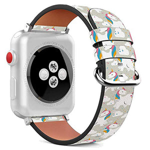 Compatible with Apple Watch - 42mm / 44mm (Serie 6/5/4/3/2/1) Leather Wristband Bracelet with Stainless Steel Clasp and Adapters - Rainbow Unicorns Exist