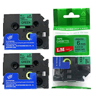 2/Pack - Premium Compatible with Brother TZe-711 Black on Green 1/4 p-Touch Label Tape, 6mm Laminated replacment TZe711 Tape, TZ711 0.23