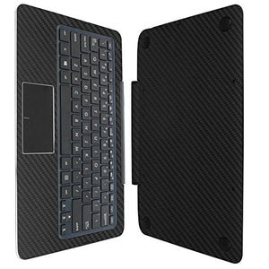 Skinomi Black Carbon Fiber Full Body Skin Compatible with Asus Transformer Book T300 Chi 12.5 (Keyboard Only)(Full Coverage) TechSkin Anti-Bubble Film