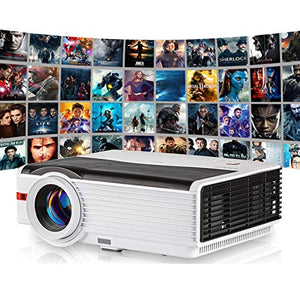 6000 Lumen High Brightness Projector Support Full HD 1080P, Home Cinema Outdoor Movies Projector with 50,000 Hours LED Life, Compatible with Smartphone, Laptop, DVD, TV Stick, PS4 for Entertainment