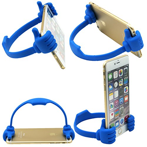 HONSKY 3361942 Cute Thumbs Up Adjustable Tpu Flexible Mobile Cell Phone Tablet Computer Display Stand Holder for Bed Desk - Blue and Black