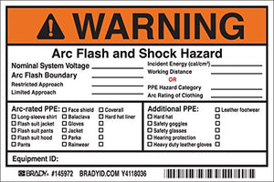 Arc Flash Labels, Adhesive, Vinyl, 4