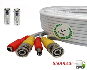 WennoW All-in-one Pre-Made BNC Video and Power Extension BNC Male to Male Cable with 2 Free BNC Coupler Connectors for CCTV Surveillance Camera (White, 25ft)