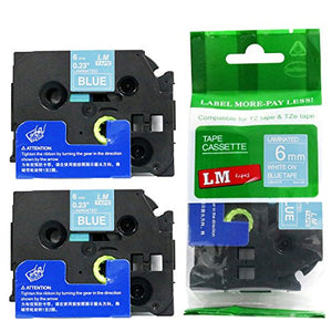 2/Pack - Premium Compatible with Brother TZe-515 White on Blue 1/4 p-Touch Label Tape, 6mm Laminated replacment TZe515 Tape, TZ515 0.23