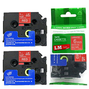 2/Pack - Premium Compatible with Brother TZe-415 White on Red 1/4 p-Touch Label Tape, 6mm Laminated replacment TZe415 Tape, TZ415 0.23