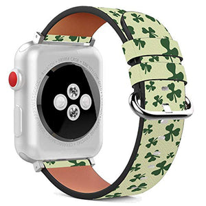 Compatible with Apple Watch - 38mm / 40mm (Serie 6/5/4/3/2/1) Leather Wristband Bracelet with Stainless Steel Clasp and Adapters - Green Clover St Patrick's