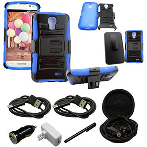 Mstechcorp - For LG Access LTE / LG L31G / LG L31L / LG L31C / F70 - Combo Hybrid Armor Stand Case With Holster and Locking Belt Clip - Includes [Car Charger] + [Wall Charger] + [Touch Screen Stylus]