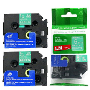 2/Pack - Premium Compatible with Brother TZe-715 White on Green 1/4 p-Touch Label Tape, 6mm Laminated replacment TZe715 Tape, TZ715 0.23