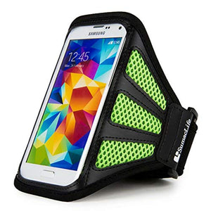 Running Sports Gym Armband Case Cover for iPhone Xs | iPhone X | iPhone 8 | iPod Touch 2019 | Samsung Galaxy S10e | Galaxy J3 | Smartphones up to 5.75in + VanGoddy Headset with MIC (Green Mesh)