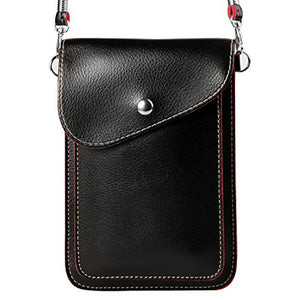 Women's PU Leather Vertical Cross-body Bag Wallet Purse for Samsung Galaxy S9+ S9 S8+ S8/Note 8/A5 A7 J3 J5 J7/Nokia 7 Plus 5 6 8/HTC Desire 12/U11 EYEs/U11+ (Black)