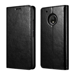 Moto G5 Plus Case, Luxury PU Leather Wallet Flip Protective Case Cover with Card Slots and Stand for Motorola Moto G Plus (5th Generation) -Black