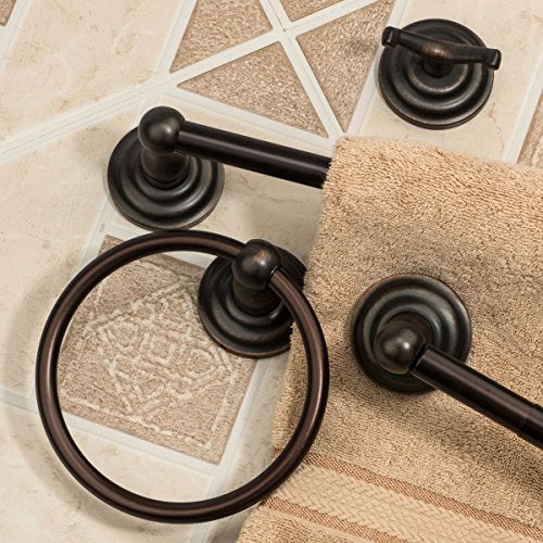 "Dynasty Hardware 3800-ORB-4PC Palisades Series Bathroom Hardware Set, Oil Rubbed Bronze, 4-Piece Set, With 24"" Towel Bar"