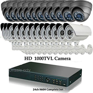 Amview 24ch HD Hybrid 1080P HDMI DVR 1300TVL Bullet Dome Security Camera System