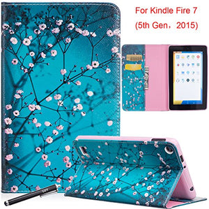 Case for Fire 7 2015, Newshine [Kickstand] Slim Fit Flip Cover with [Card Slots & Cash Holder] Protective Case for Amazon Kindle Fire 7
