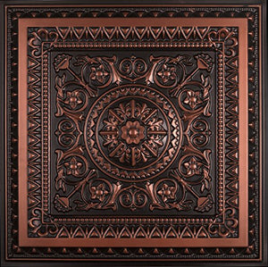 La Scala-Faux Tin Ceiling Tile - Antique Copper 25-Pack