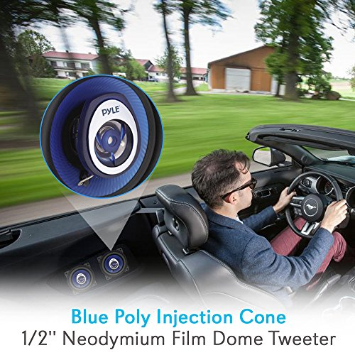 "4"" Car Sound Speaker (Pair) - Upgraded Blue Poly Injection Cone 2-Way 180 Watt Peak w/ Non-fatiguing Butyl Rubber Surround 110 - 20Khz Frequency Response 4 Ohm & 3/4"" ASV Voice Coil - Pyle PL42BL"