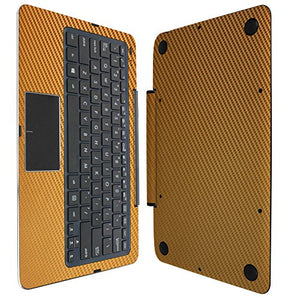 Skinomi Gold Carbon Fiber Full Body Skin Compatible with Asus Transformer Book T300 Chi 12.5 (Keyboard Only)(Full Coverage) TechSkin Anti-Bubble Film