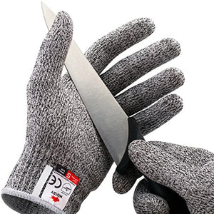 No Cry Cut Resistant Gloves   Ambidextrous, Food Grade, High Performance Level 5 Protection. Size Ext