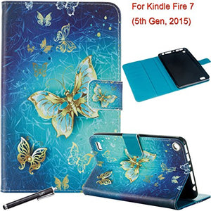 Folio Case for Fire 7 2015 - Newshine Slim PU Leather Magnetic Closure Standing Cover Case for Amazon Kindle Fire 7 Tablet (Only Fit Fire 7