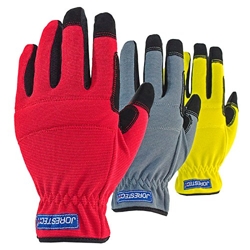JORESTECH 3 in 1 Pack Touch Screen Technology Multipurpose Work gloves (Large, Yellow/Red/Gray)