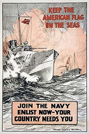Keep the American flag on the seas Join the Navy--Enlist now-your country needs you 12x18 Giclee On Canvas