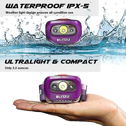 BLITZU Brightest Headlamp Flashlight 165 Lumen with Bright White Cree Led + Red Light for Kids, Men, Women. Perfect for Running, Camping, Home Projects, Waterproof with Adjustable Headband Purple