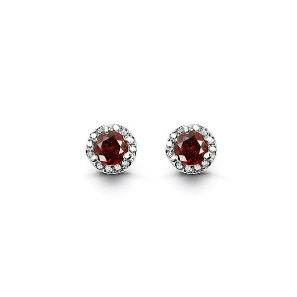 January - Birthstone Halo Earrings