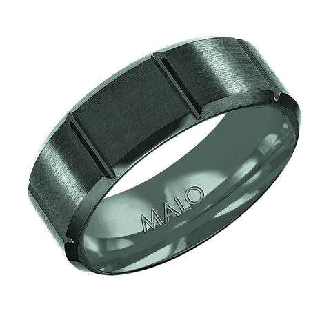 Ceramic Line Detailed Wedding Band