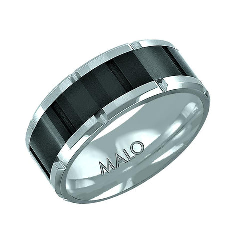 Two Tone Patterned Tungsten Wedding Band