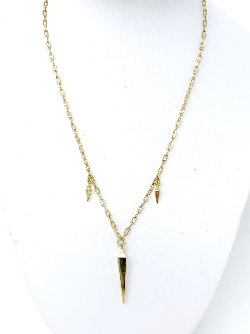 Triple Spike Necklace in Gold