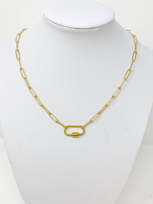 Anne Chainlink Necklace with Carabiner Clip in 14K Gold