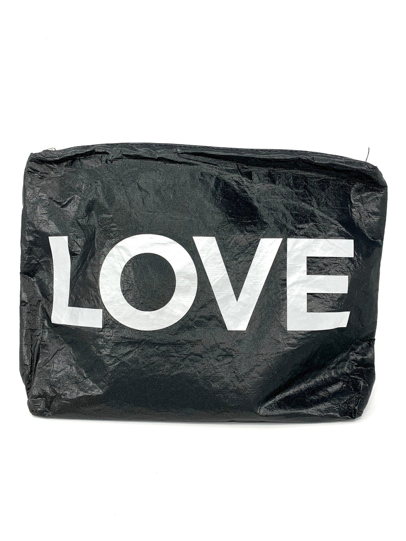 Hi Love Travel Medium LOVE pouch in Black