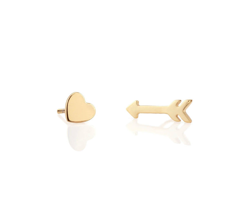 KN Heart and Arrow Studs in Gold