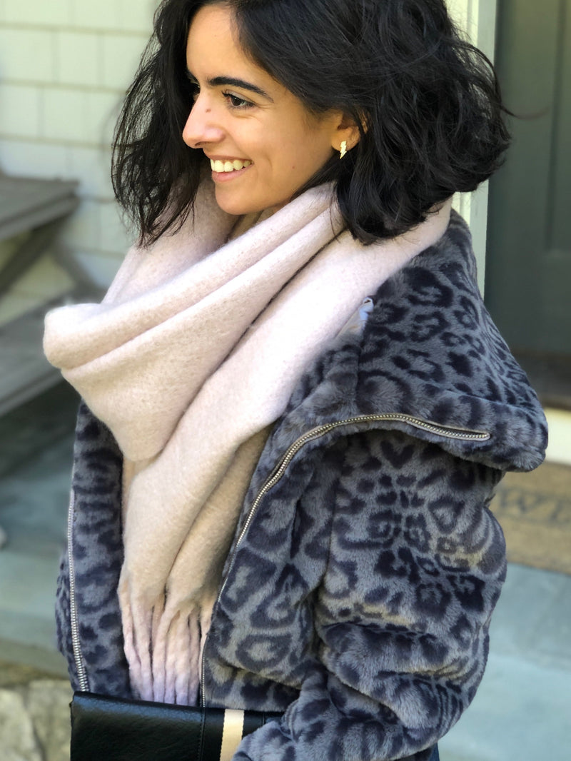 SALE! Cozy Fluffy Scarf in Blush