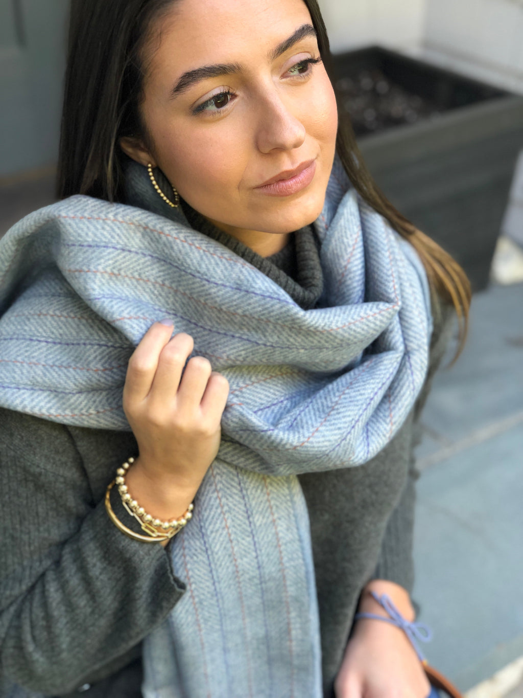 SALE! Soft Blue Herringbone Coco Scarf