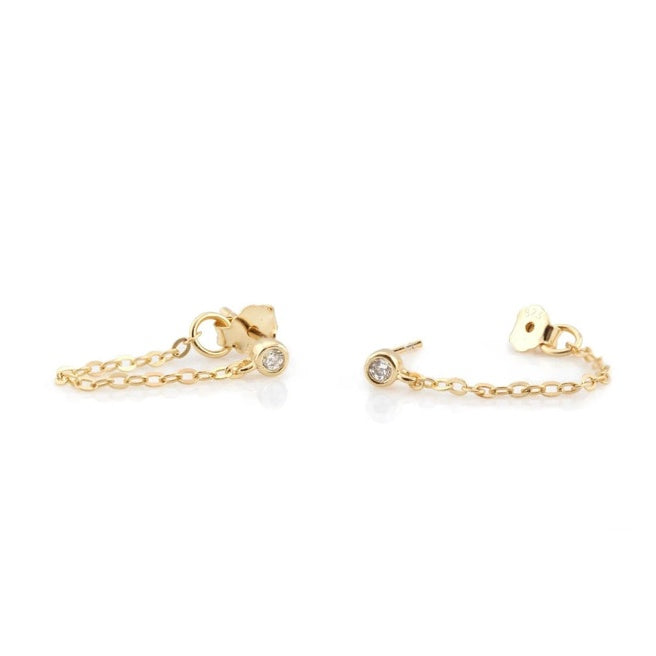 KN Clear Stones Chain Studs in Gold