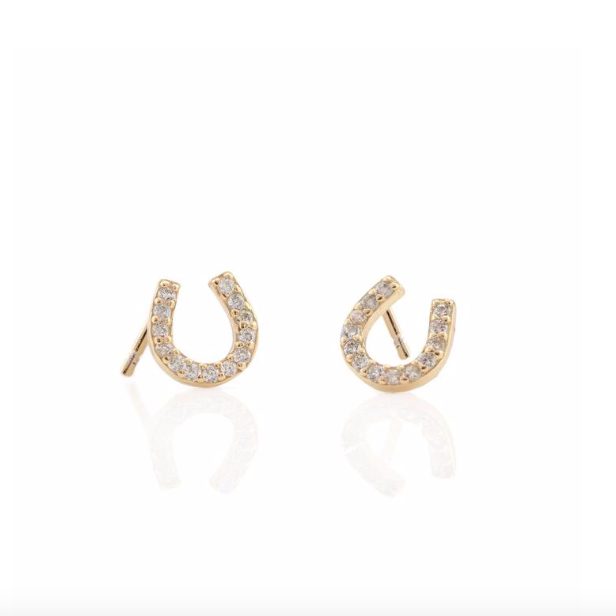 KN Horseshoe Pave Studs in Gold