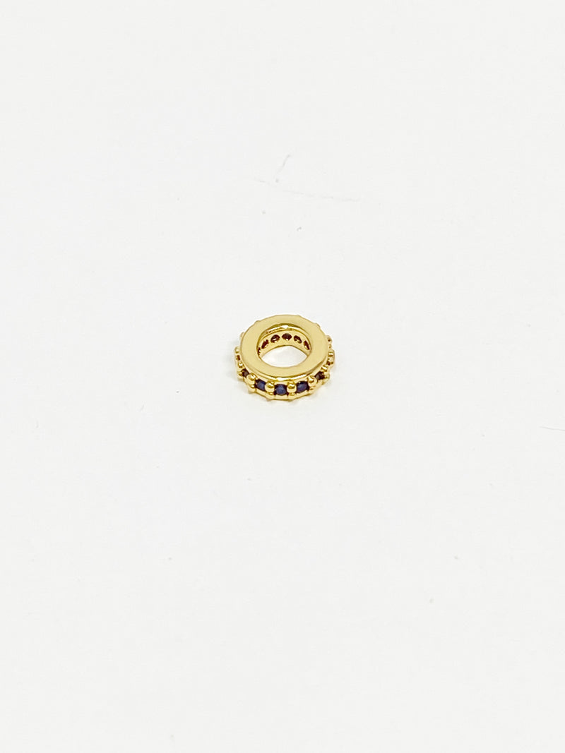 Charming Mini Pave Spacer Charm in Gold with Sapphire Blue Stones