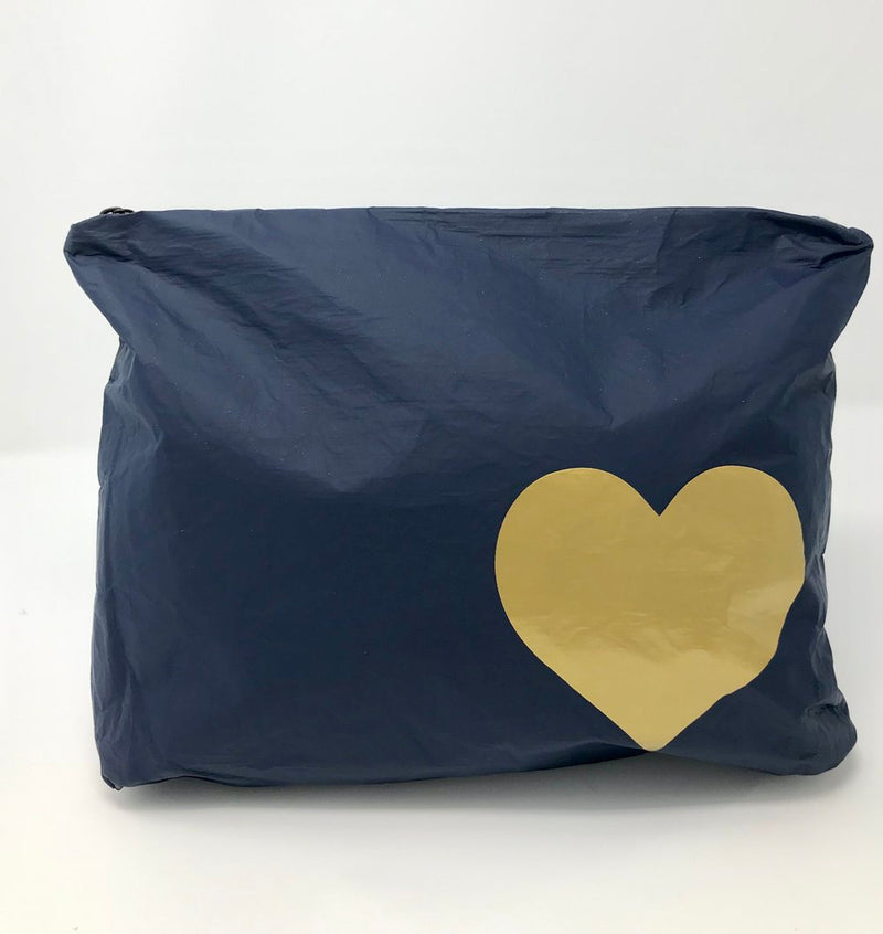 Hi Love Travel Navy Medium Pouch with Gold Heart