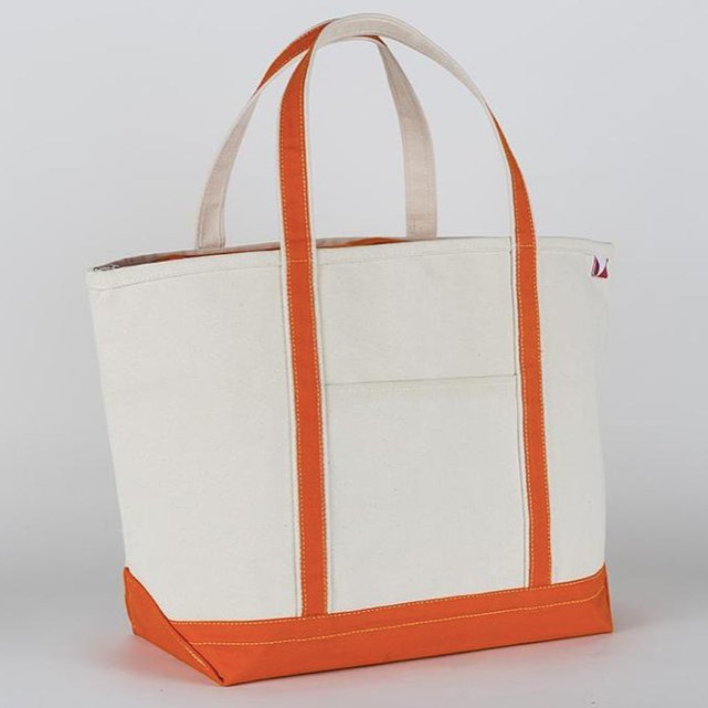 Large Classic Boat Tote in Orange
